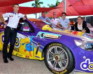 V8 Supercar driver Dean Fiore visits some of his sponsors Graham Sharp, Tony Warne, Barbara Warne and Megan Sharp ahead of the Townsville 400.