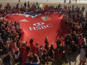 Big crowd greets an even bigger Lions jersey at Noosa
