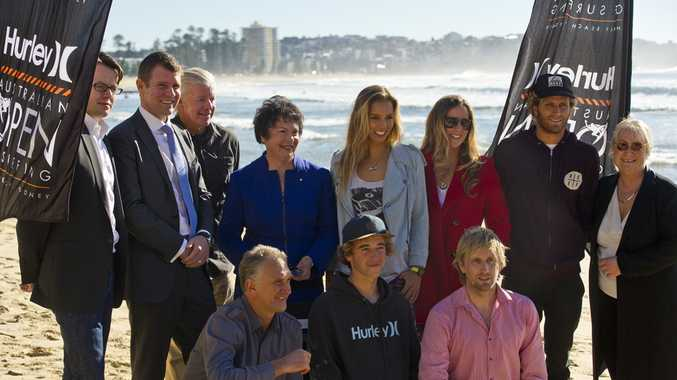 NSW Treasurer and Member for Manly Mike Baird, Manly Mayor Jean Hay, IMG, ASP, Hurley and Tyler Wright, Sally Fitzgibbons and Kai Otton.