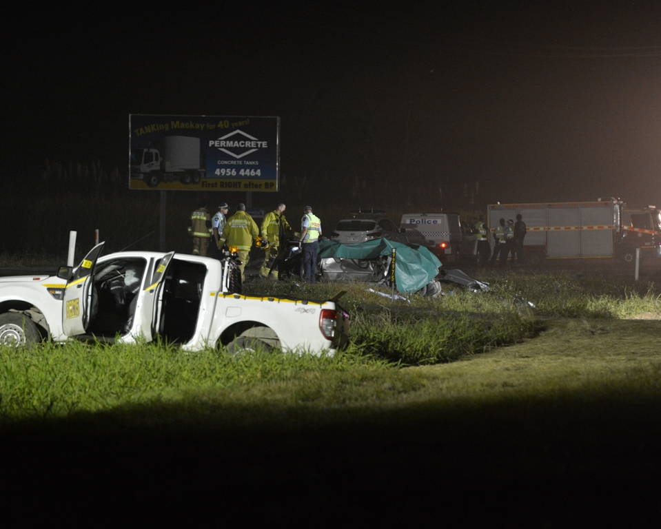 Two children are dead following this crash on the Bruce Hwy at Chelona.