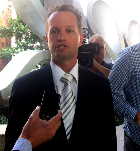 Lawyer Mark Williams, representing Rueben Barnes' father Murray, speaks to the media outside Brisbane Coroner's Court.