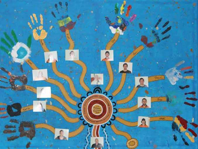An Aboriginal styled painting created by Diane Sollitt highlighting the students and acknowledging assistance from the many sources.