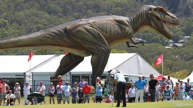 Final day of the Australian PGA Championship at Palmer Resort, Coolum: Jeff the dinosaur. Photo: Brett Wortman / Sunshine Coast Daily