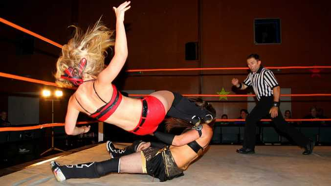 GIRLS OUT FOR A BOUT: The two top female wrestlers from Queensland and New South Wales, Storm and Madison Eagles, will battle it out at Bundamba.