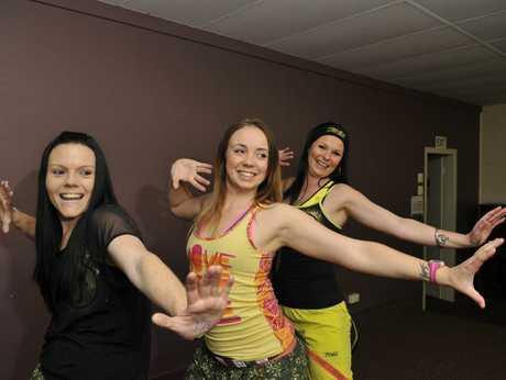 Zumba instructors Chantel Horsey, Casey Etheridge and Emily Swann.