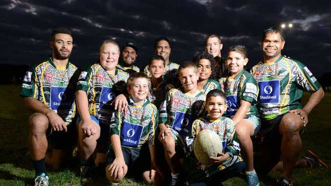INDIGENOUS APPRECIATION: Ipswich Jets indigenous players (back row) hope to educate and inspire the next generation of rugby league players with the Queensland Cup Indigenous Appreciation round at the North Ipswich Reserve today.