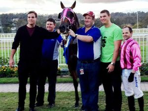 Groom's party surprise at track
