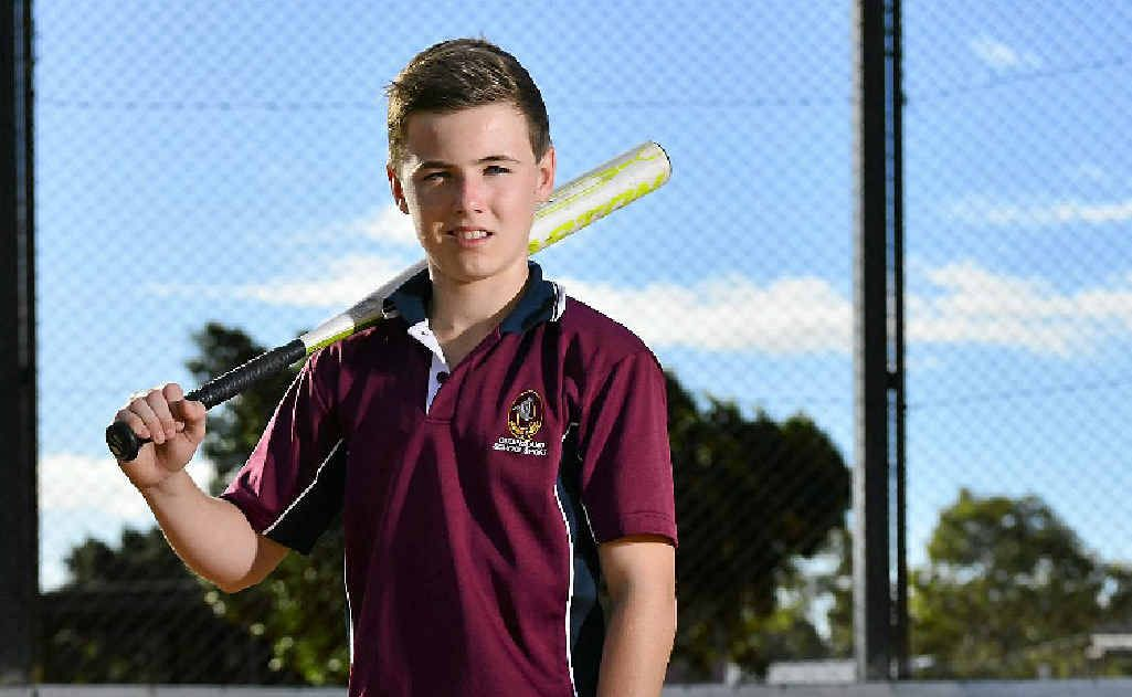 Michael Ludkin, 14, has been selected in the Queensland softball side for the fourth time.