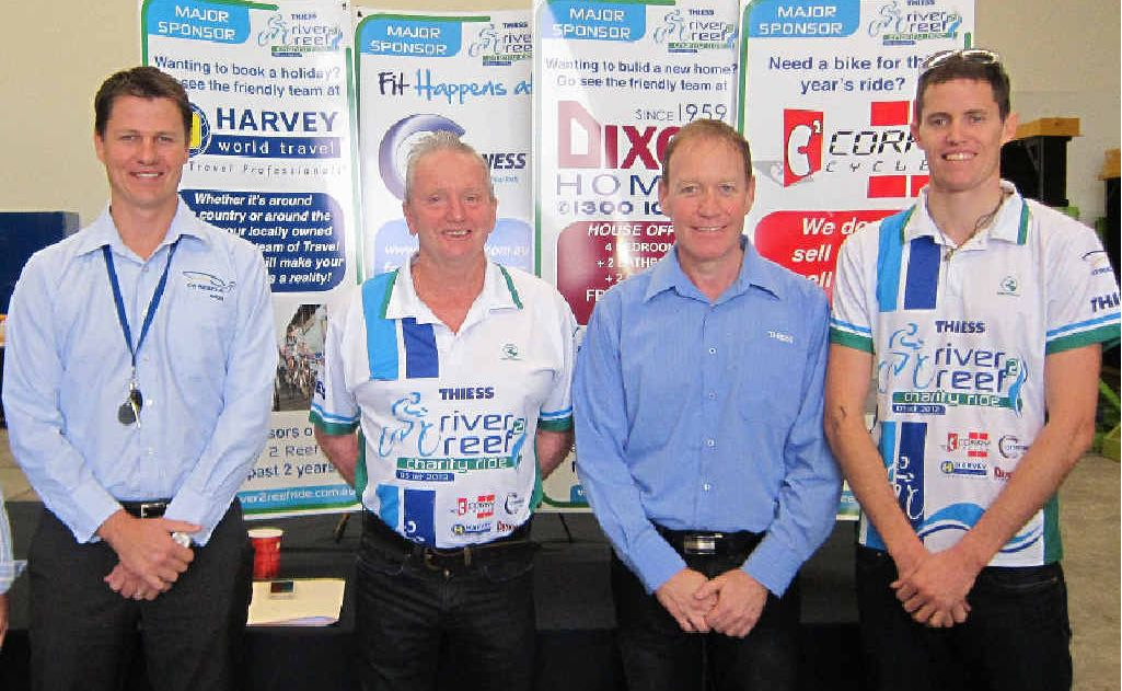 Mark Shield, Peter Sumpter, Danny McCarthy and Evan Corry attend the 2013 Thiess River 2 Reef Ride launch.