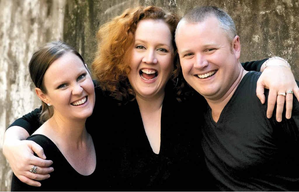 OLD UNI FRIENDS: Sunshine Coast entertainers Peter Schravemade and Natasha Koch, and Brisbane musician Heidi Loveland.