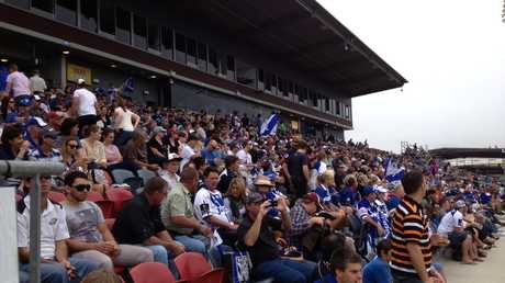 Bulldogs fans at Virgin Australia Stadium.