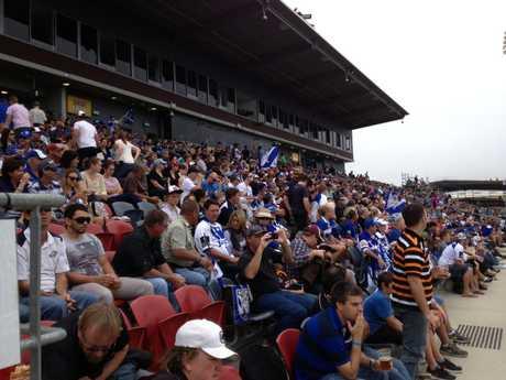 Bulldogs fans at Virgin Australia Stadium.
