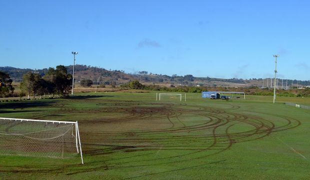 The damage caused by a vehicle being driven on Lismore Thistles Soccer Club's grounds. Photo Contributed