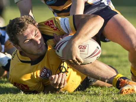 Scott Cubit, Gatton scores a try. Bradley Wieden, Highfields behind. TRL Highfields vs Gatton. Photo Nev Madsen / The Chronicle