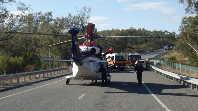 AIRLIFTED: Emergency management QLD rescue 500 helicopter airlifted a man in his 60s to the PA hospital following a crash on Boonah-Beaudesert Rd, Wyaralong, on Monday morning.