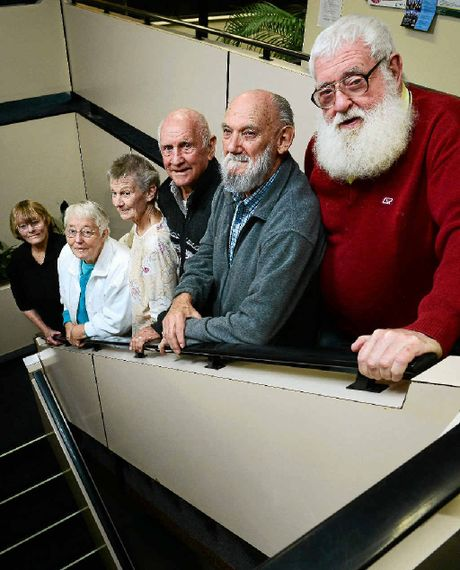 TOUGH TIMES: Members of the 60 and Better Program (from left) Betty Adams, Frances Kempen, Maureen Reinke, Les Wynne, Les Stuart, and Bob Massey.