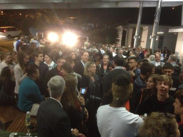 Part of the crowd lining up to hear Bill Johnson speak at Nexus Church.