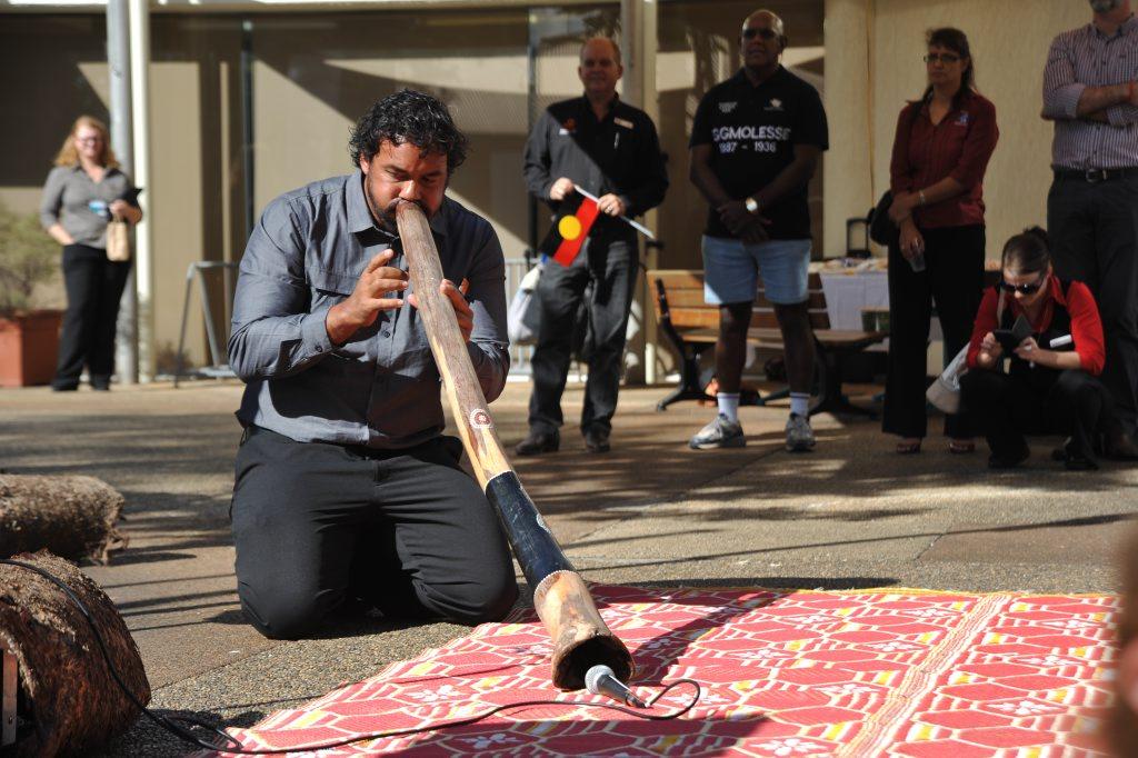 Kerry Neill Goombuckar performs at the NAIDOC Week Celebrations flag raising ceremony in Nambour. Photo: Iain Curry / Sunshine Coast Daily