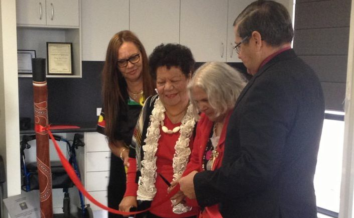Aunty Cynthia Waters, Aunty Joyce Smith and member for Hervey Bay Ted Sorensen officially open the Kal'ang Respite Care Centre.
