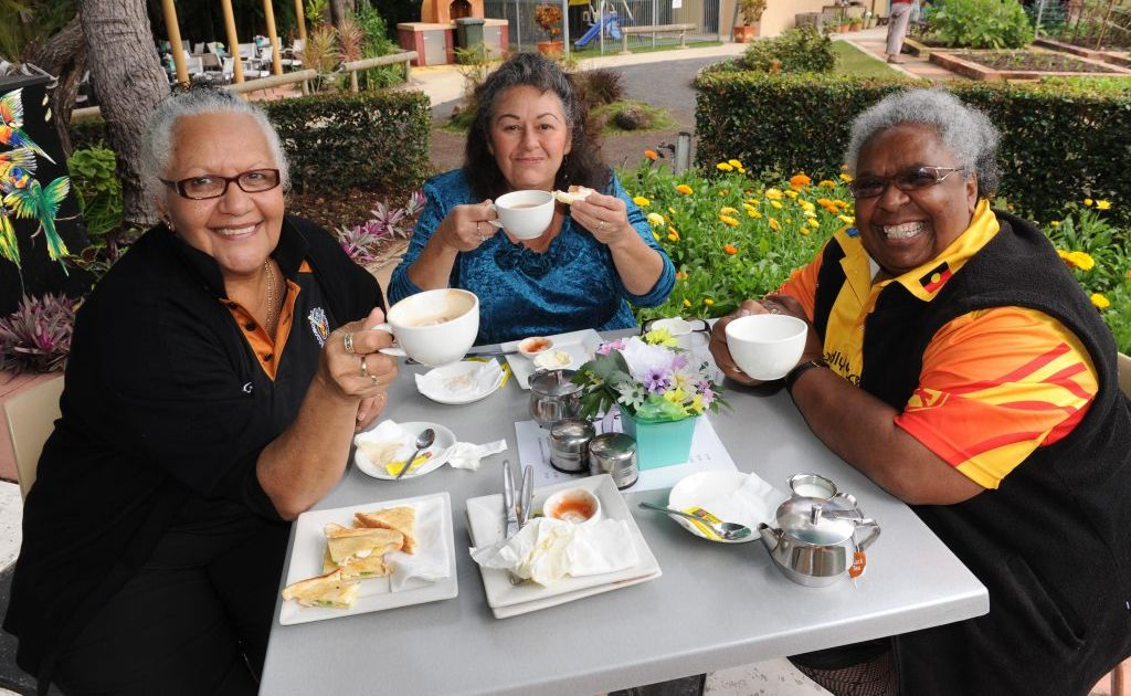 TEA TIME: Jane Smith, Christine Worthington and Coral Walker at the Naidoc Week morning tea held at the Tom Quinn Centre. Photo: Mike Knott / NewsMail
