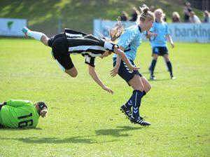 Girls having plenty of fun at soccer champs