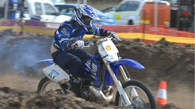 Mackay's Mark Micallef revs it up in the seniors 250cc at the dirt drags in Sarina.