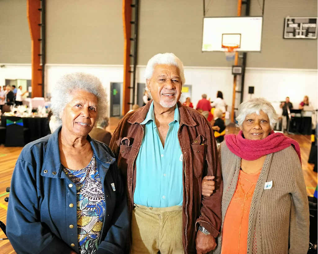 CELEBRATION BEGINS: Gladstone Gooreng Gooreng elders Lindsay Johnson, his wife (right) Aileen Johnson and his sister (left) Jaqui Johnson celebrate NAIDOC week at the Aged Care and Elders lunch.