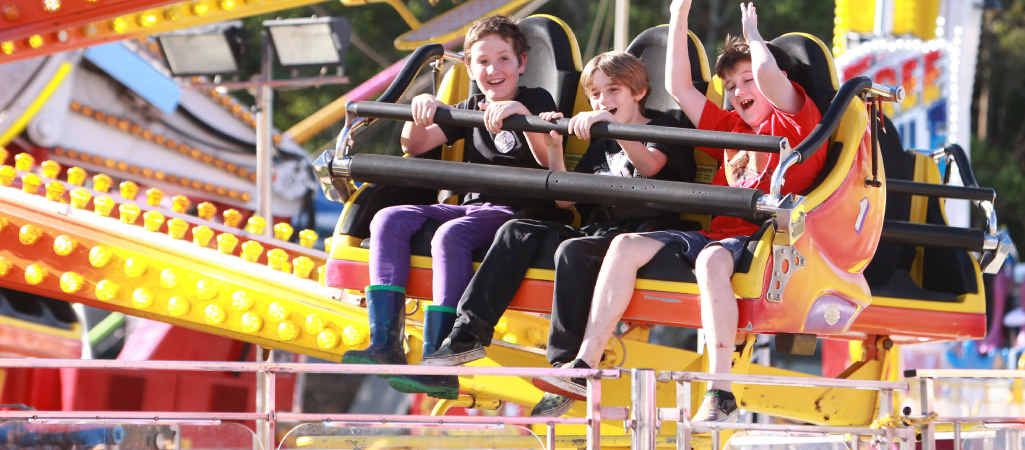 THRILL SEEKERS: Enjoying Nambour Show are Aiden Cavanagh (left), Mikayo and Takoda Mundy.
