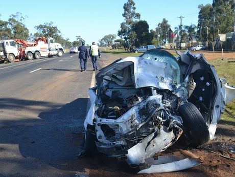 The ute involved in this morning's fatal crash near Dalby.