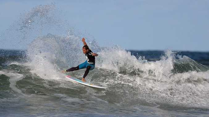 Soli Bailey of Suffolk Park goes to town at Lennox in The 2013 Skullcandy Oz Grom Open.