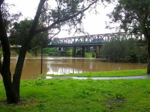 A photo of the flooded Wilsons River from 2010