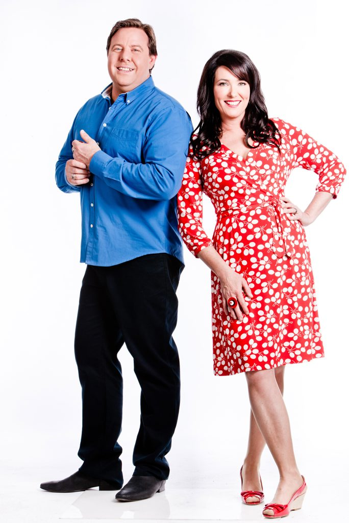 The Great Australian Bake Off hosts Shane Jacobson and Anna Gare. Supplied by Channel 9/WIN.