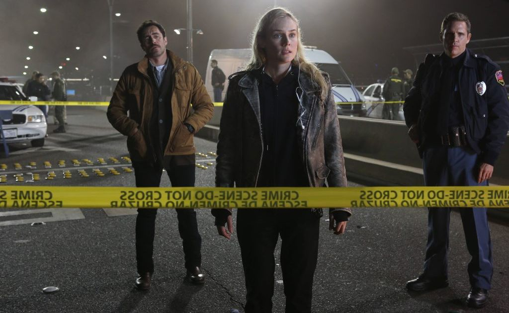 Demian Bichir, left, and Diane Kruger in a scene from the TV series The Bridge.
