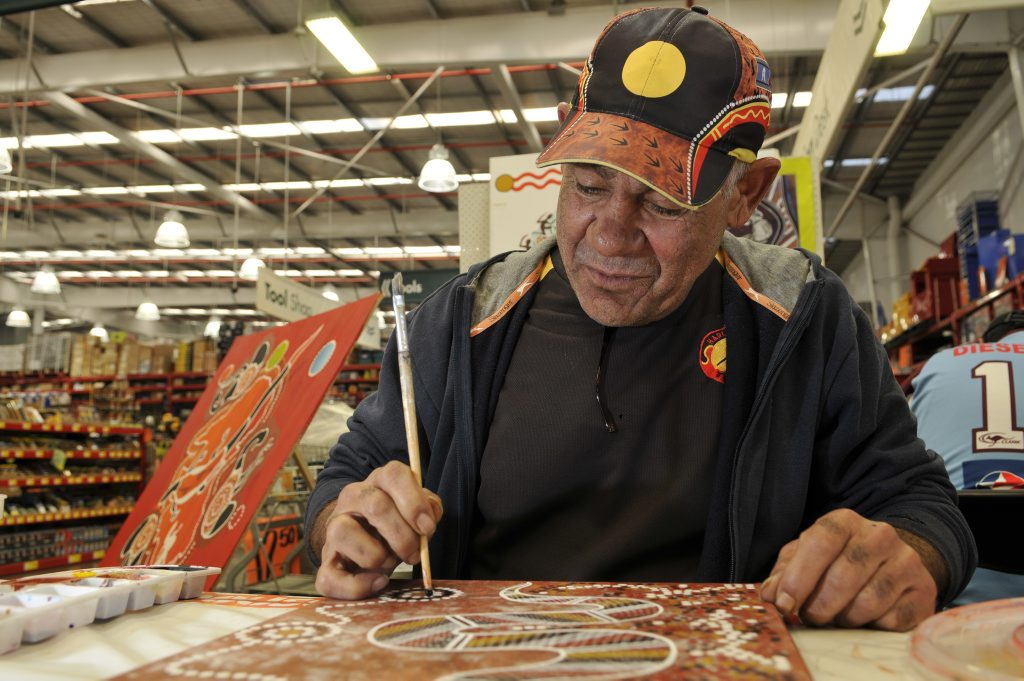 Image for sale: Harlaxton Neighbourhood Centre artist Bruce McIntosh joins forces with Bunnings as part of NAIDOC Week.
