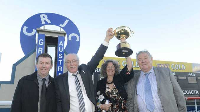 PARTY TIME: Owners of 100th Grafton Cup winner Mr O'ceirin (L-R) John Webb, Geoff and Lynette McLaren and Tony McGrath celebrate after the race. Photo: Adam Hourigan