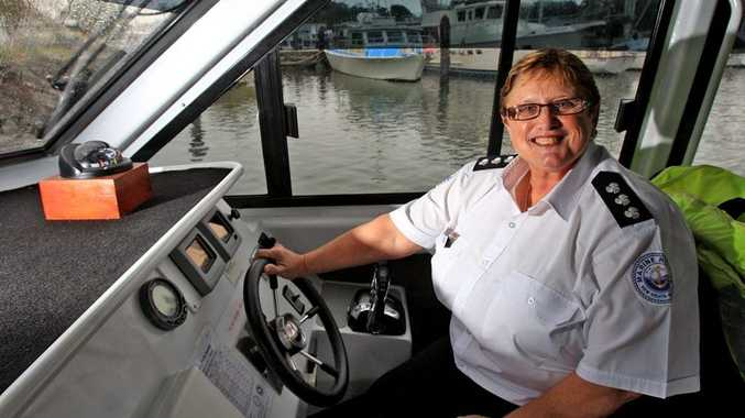 Glenda Ashby on board one of the Marine Rescue Vessels in Tweed Heads.
