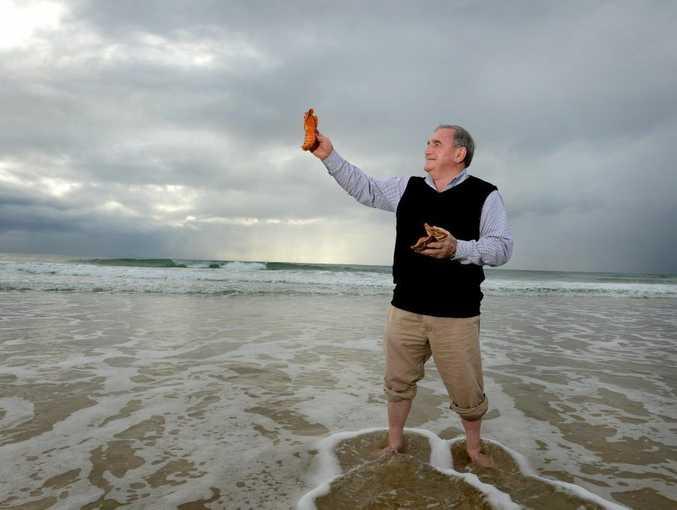 Warren Polglase with some Moreton Bay bugs at Kingscliff Beach.