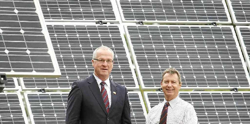 SUNNY SIDE UP: Mayor Mark Jamieson (left) and councillor Steve Robinson look forward to the Coast having its own solar farm.