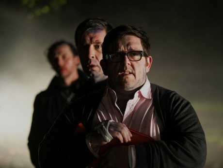Nick Frost, front, with Paddy Considine and Simon Pegg pictured behind, in a scene from the movie The World's End.
