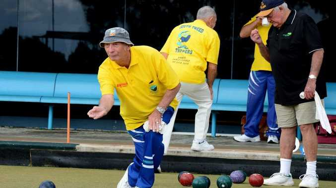 Stan Spencley bowls at the South Tweed Sports club.