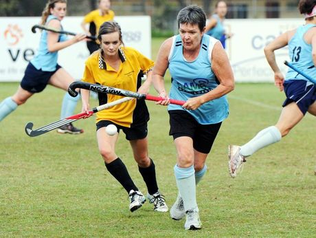 Hervey Bay Hockey - Youngbloods versus Brothers. Georgia Fraser and Lyn Bray. Photo: Valerie Horton / Fraser Coast Chronicle