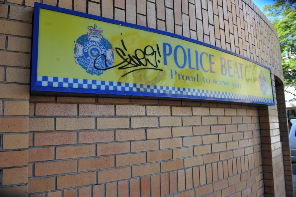CRIMINAL ACT: The Police Beat sign at the CBD pavilion has been defaced with graffiti. Photo: Mike Knott / NewsMail