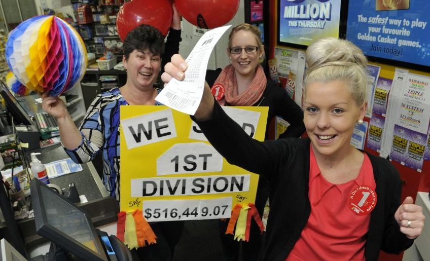 Nextra Wilsonton News staff (from left) Cristie Reis, Gabby Beddoes and Jess Sharkey celebrate selling the Gold Lotto ticket which won a Toowoomba man more than $500,000.