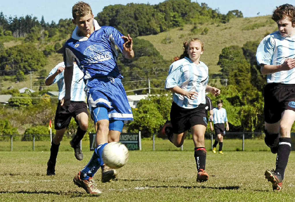 PLAY ON: Jacob Graham unleashes a shot at goal during action at Lismore Thistles' repaired turf.