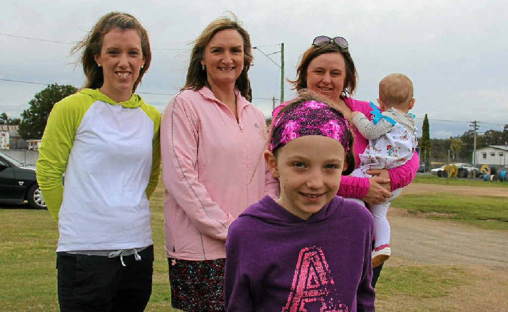 GETTING FIT: Alayna Jones (front) is ready to run with (back, from left) Jo Cuskelly, Linda Coombes and Katharine Jones – the three main instigators behind bringing parkrun to Warwick.