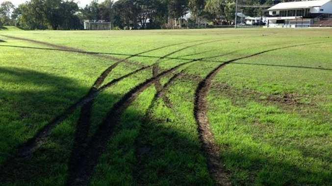 Jim Devine Field, home of Murwillumbah Football Club, was badly damaged by hooning on Saturday morning.