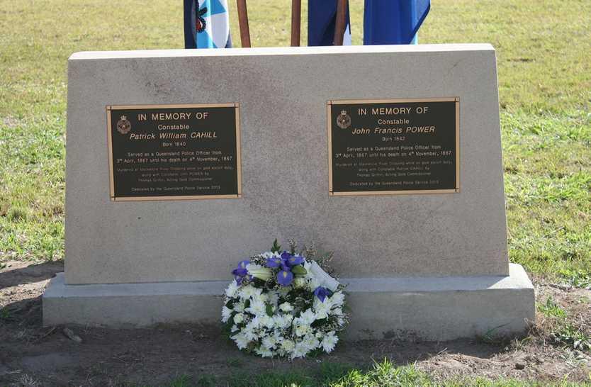 The memorial stones of Rockhampton Constables Patrick Cahill and John Power. Photo: Austin King / The Morning Bulletin