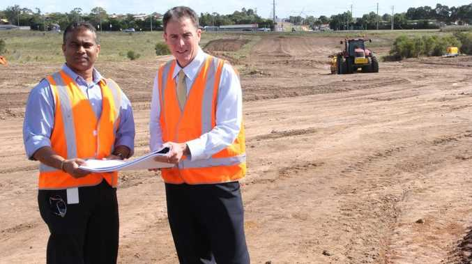 Fraser Coast Mayor Gerard O'Connell (right) and the council's group manager infrastructure delivery Davendra Naidu check on the progress of the new Urraween Rd extension.