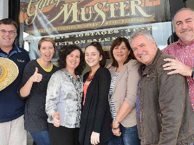Gympie Muster office staff (from left) Glenn Smith, Meeki Crotty, Leisa Dwyer, Georgia Dein, Vicki Chandler, Jeff Chandler and James Dein celebrate the good news after being listed as a major event by Events Queensland.