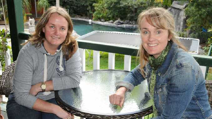 Fly-in fly-out women in mining, sisters Sandra Cross and Melissa Brown relax at home in Gympie this week.